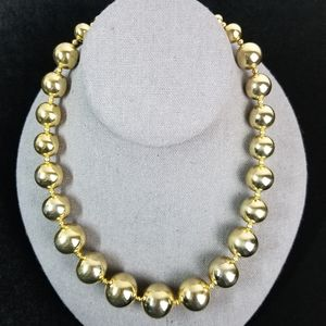 Vintage Gold Graduated Beaded Necklace Large Beads